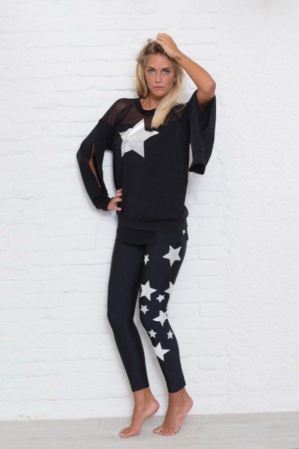 leggings noir étoile blanche